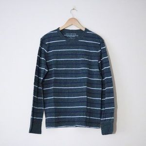 Grey and Blue Stripe Long Sleeve